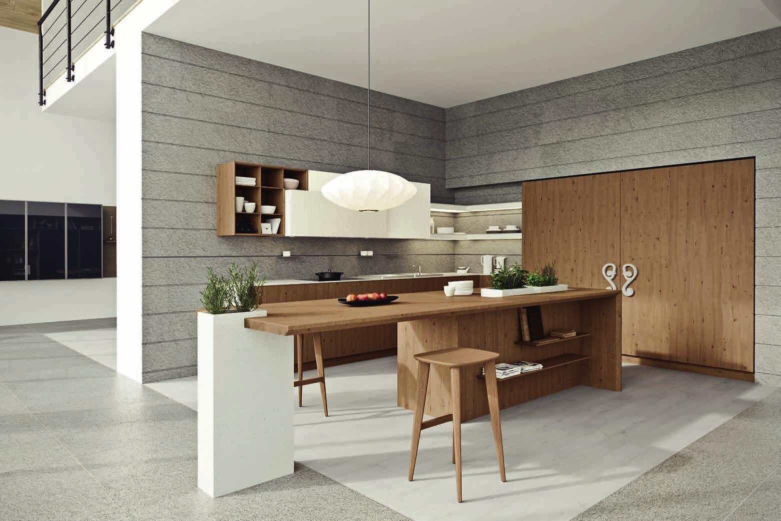 Interior design of large kitchen space
